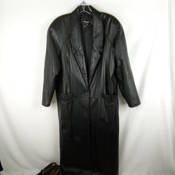 3e2991a3c Pelle Black Leather Trench Coat Women Size M